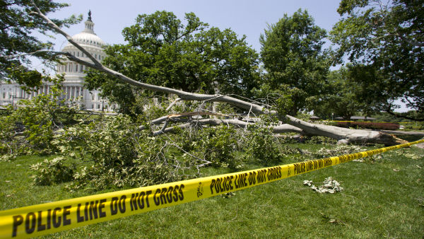 "<div class=""meta ""><span class=""caption-text "">A tree blown over during a intense storm late Friday night lays on the ground in front of the U.S. Capitol in Washington Saturday, June 30, 2012.  Violent storms swept across the eastern U.S., killing at least nine people and knocking out power.  (AP Photo/Manuel Balce Ceneta) (AP Photo/ Manuel Balce Ceneta)</span></div>"