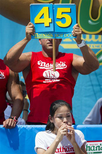 Sonya &#34;The Black Widow&#34; Thomas breaks her world record during the Nathan&#39;s Famous Women&#39;s Hot Dog Eating World Championship, Wednesday, July 4, 2012, at Coney Island, in the Brooklyn borough of New York. Thomas beat her own record by gobbling down 45 hot dogs and buns in 10 minutes to win the women&#39;s competition at the annual Coney Island contest.  &#40;AP Photo&#47;John Minchillo&#41; <span class=meta>(AP Photo&#47; John Minchillo)</span>