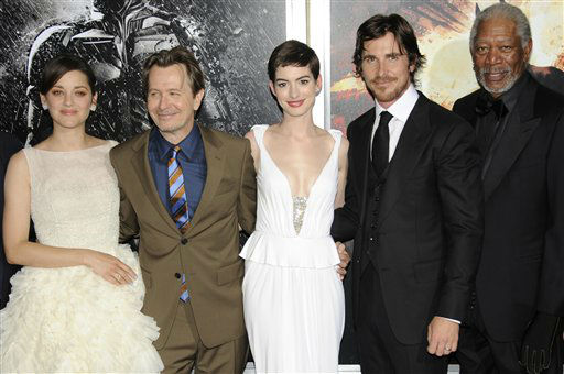 "<div class=""meta image-caption""><div class=""origin-logo origin-image ""><span></span></div><span class=""caption-text"">From left, actors Marion Cotillard, Gary Oldman, Anne Hathaway, Christian Bale, and Morgan Freeman pose together at the world premiere of ""The Dark Knight Rises"" on Monday July 16, 2012, in New York. (Photo by Evan Agostini/Invision/AP) (Photo/Evan Agostini)</span></div>"