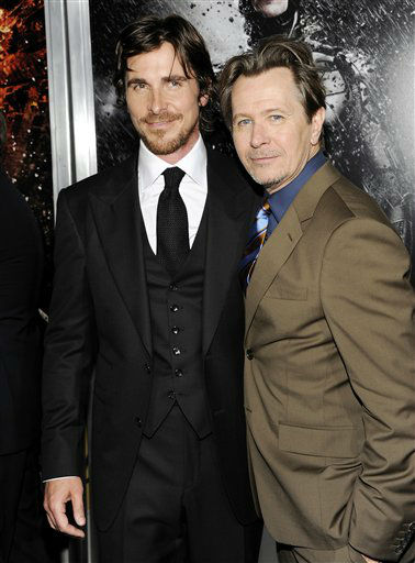 Actors Christian Bale, left, and Gary Oldman attend the world premiere of &#34;The Dark Knight Rises&#34; at the AMC Lincoln Square Theater on Monday July 16, 2012 in New York. &#40;Photo by Evan Agostini&#47;Invision&#47;AP&#41; <span class=meta>(Photo&#47;Evan Agostini)</span>