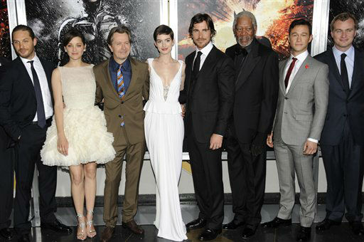 From left, actors Tom Hardy, Marion Cotillard, Gary Oldman, Anne Hathaway, Christian Bale, Morgan Freeman, Joseph Gordon-Levitt and director Christopher Nolan pose together at the world premiere of &#34;The Dark Knight Rises&#34; on Monday July 16, 2012, in New York. &#40;Photo by Evan Agostini&#47;Invision&#47;AP&#41; <span class=meta>(Photo&#47;Evan Agostini)</span>