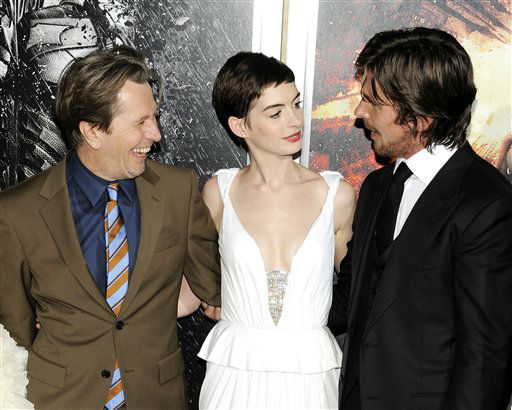 Cast members Gary Oldman, left, Anne Hathaway and Christian Bale pose together at the world premiere of &#34;The Dark Knight Rises&#34; at the AMC Lincoln Square Theater on Monday July 16, 2012 in New York. &#40;Photo by Evan Agostini&#47;Invision&#47;AP&#41; <span class=meta>(Photo&#47;Evan Agostini)</span>