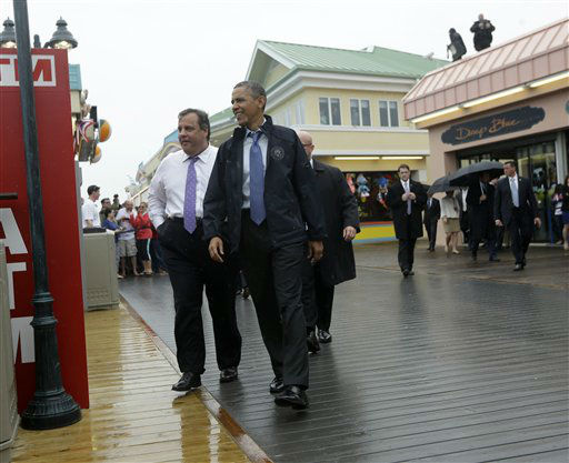 President Barack Obama and New Jersey Gov. Chris Christie walk along the boardwalk during their visit to Point Pleasant, NJ., Tuesday, May 28, 2013.  Obama traveled to New Jersey to join  Christie to inspect and tour the Jersey Shore&#39;s recovery efforts from Hurricane Sandy. &#40;AP Photo&#47;Pablo Martinez Monsivais&#41; <span class=meta>(AP Photo&#47; Pablo Martinez Monsivais)</span>