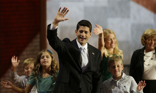 Republican vice presidential nominee, Rep. Paul Ryan waves with his family, from left, Sam, Liza, wife Janna, Charlie and mother Betty Ryan Douglas after his acceptance speech during the Republican National Convention in Tampa, Fla., on Wednesday, Aug. 29, 2012. &#40;AP Photo&#47;Charlie Neibergall&#41; <span class=meta>(AP Photo&#47; Charlie Neibergall)</span>