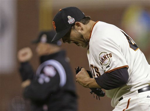 San Francisco Giants starting pitcher Madison Bumgarner reacts after the San Francisco Giants hit into a double play during the seventh inning of Game 2 of baseball&#39;s World Series Thursday, Oct. 25, 2012, in San Francisco. &#40;AP Photo&#47;Marcio Jose Sanchez&#41; <span class=meta>(AP Photo&#47; Marcio Jose Sanchez)</span>