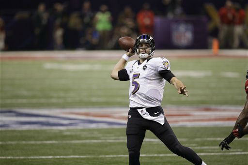 Baltimore Ravens quarterback Joe Flacco &#40;5&#41;  works against the San Francisco 49ers NFL Super Bowl XLVII football game Sunday, Feb. 3, 2013, in New Orleans. &#40;AP Photo&#47;Elise Amendola&#41; <span class=meta>(AP Photo&#47; Elise Amendola)</span>