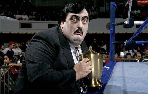This undated photo released Wednesday, March 6, 2013, by WWE, Inc. shows William Moody, aka Paul Bearer, the pasty-faced, urn-carrying manager for performers The Undertaker and Kane. A spokesman for the wrestling circuit said Moody&#39;s family contacted the WWE to report his death on Tuesday, March 5, 2013. He was 58. No cause was released. &#40;AP Photo&#47;WWE Inc.&#41; <span class=meta>(AP Photo&#47; Uncredited)</span>