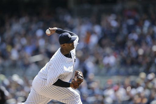 "<div class=""meta ""><span class=""caption-text "">New York Yankees' CC Sabathia pitches during the first inning of an opening day baseball game against the Boston Red Sox, Monday, April 1, 2013, in New York. (AP Photo/Matt Slocum) (AP Photo/ Matt Slocum)</span></div>"