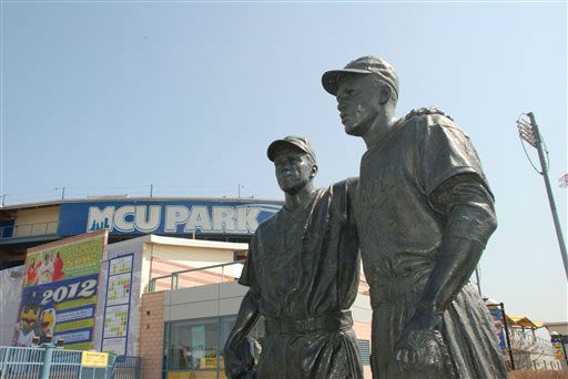 This undated image provided by the Brooklyn Cyclones shows a statue of Pee Wee Reese and Jackie Robinson at MCU Park in the Coney Island section of the Brooklyn borough of New York, where the minor league Cyclones team plays. A new film, ?42,? tells the inspiring story of how Robinson integrated Major League Baseball when he played for the Brooklyn Dodgers. The pedestal of the statue states that Reese, captain of the Dodgers, ?stood by Jackie Robinson against prejudiced fans and fellow players? by walking over to Robinson, standing next to him and ?silencing the taunts of the crowd?  during a game in Cincinnati. &#40;AP Photo&#47;Brooklyn Cyclones&#41; <span class=meta>(AP Photo&#47; Uncredited)</span>