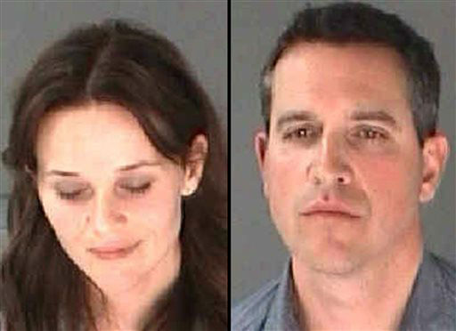 "<div class=""meta ""><span class=""caption-text "">This combination of undated photo provided by the City of Atlanta Department of Corrections shows Reese Witherspoon, left, her husband James Toth. The Oscar-winning actress was arrested on a disorderly conduct charge after a state trooper said she wouldn't stay in the car while Toth was given a field sobriety test in Atlanta. (AP Photo/City of Atlanta Department of Corrections) (AP Photo/ Uncredited)</span></div>"