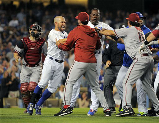 A scuffle breaks out after Los Angeles Dodgers starting pitcher Zack Greinke was hit by a pitch during the seventh  inning of their baseball game against the Arizona Diamondbacks, Tuesday, June 11, 2013, in Los Angeles.  &#40;AP Photo&#47;Mark J. Terrill&#41; <span class=meta>(AP Photo&#47; Mark J. Terrill)</span>