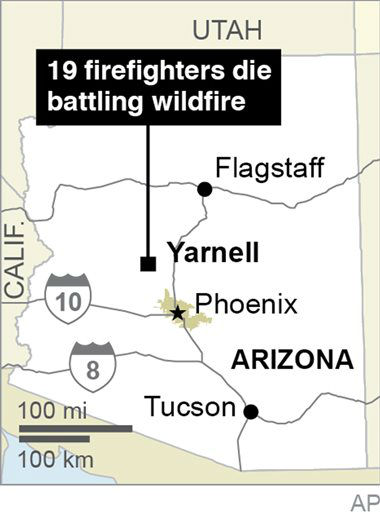 "<div class=""meta ""><span class=""caption-text "">This graphic shows the location of Yarnell, Ariz., where 19 firefighters died battling a wildfire on June 30, 2013. (AP Photo) (AP Photo/ Uncredited)</span></div>"