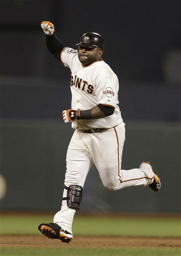 San Francisco Giants&#39; Pablo Sandoval reacts after hitting a home run during the fifth inning of Game 1 of baseball&#39;s World Series against the Detroit Tigers  Wednesday, Oct. 24, 2012, in San Francisco. &#40;AP Photo&#47;Marcio Jose Sanchez&#41; <span class=meta>(AP Photo&#47; Marcio Jose Sanchez)</span>