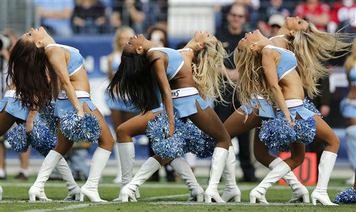 Tennessee Titans cheerleaders perform in the second quarter of an NFL football game between the Titans and the Houston Texans on Sunday, Dec. 2, 2012, in Nashville, Tenn. &#40;AP Photo&#47;Joe Howell&#41; <span class=meta>(AP Photo&#47; Joe Howell)</span>