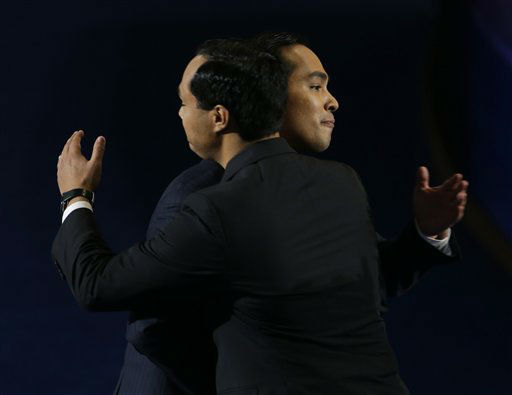 San Antonio Mayor Julian Castro, right, hugs his brother Joaquin Castro after his speech at the Democratic National Convention in Charlotte, N.C., on Tuesday, Sept. 4, 2012. &#40;AP Photo&#47;Lynne Sladky&#41; <span class=meta>(AP Photo&#47; Lynne Sladky)</span>