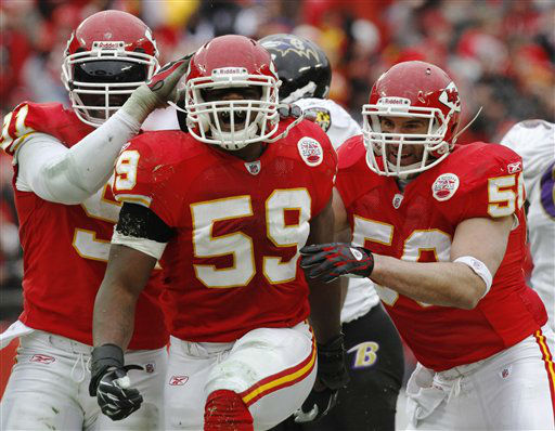 FILE - In this Jan. 9, 2011, file photo, Kansas City Chiefs linebacker Jovan Belcher, center, reacts with teammates after sacking Baltimore Ravens quarterback Joe Flacco during the second quarter of an NFL AFC wild card football playoff game in Kansas City, Mo. Police say Belcher fatally shot his girlfriend early Saturday, Dec. 1, 2012, in Kansas City, Mo., then drove to Arrowhead Stadium and committed suicide in front of his coach and general manager.&#40;AP Photo&#47;Jeff Tuttle, File&#41; <span class=meta>(AP Photo&#47; Jeff Tuttle)</span>