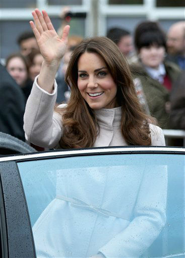 "<div class=""meta image-caption""><div class=""origin-logo origin-image ""><span></span></div><span class=""caption-text"">Britain's Kate, Duchess of Cambridge waves as she leaves  Manor School during an official visit to Cambridge, England with Prince William, Duke of Cambridge, unseen, Wednesday Nov. 28, 2012 .  (AP Photo/Chris Jackson, Pool) (AP Photo/ Chris Jackson)</span></div>"