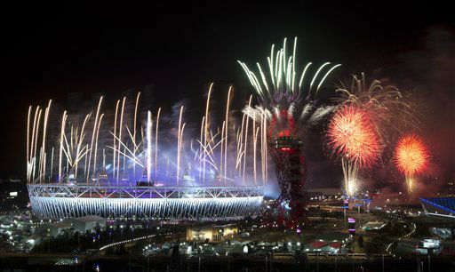 Fireworks explode over the Olympic Stadium at the closing ceremony of the 2012 Summer Olympics, Monday, Aug. 13, 2012, in London. &#40;AP Photo&#47;Ben Curtis&#41; <span class=meta>(AP Photo&#47; Ben Curtis)</span>