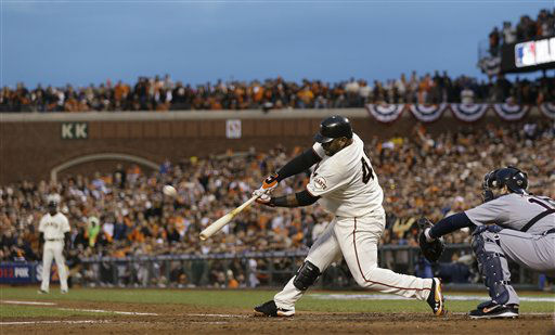 San Francisco Giants&#39; Pablo Sandoval hits a two-run home run during the third inning of Game 1 of baseball&#39;s World Series against the Detroit Tigers Wednesday, Oct. 24, 2012, in San Francisco. &#40;AP Photo&#47;Marcio Jose Sanchez&#41; <span class=meta>(AP Photo&#47; Marcio Jose Sanchez)</span>