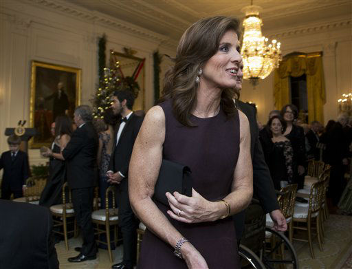 "<div class=""meta ""><span class=""caption-text "">Caroline Kennedy leaves at the conclusion of  a reception hosted by President Barack Obama and first lady Michelle Obama in honor of the 2012 Kennedy Center Honors recipients, in the East Room of the White House in Washington, Sunday, Dec. 2, 2012.   (AP Photo/Manuel Balce Ceneta) (AP Photo/ Manuel Balce Ceneta)</span></div>"