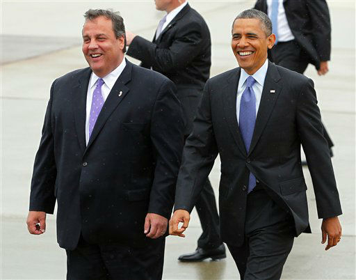 "<div class=""meta ""><span class=""caption-text "">New .Jersey Gov. Chris Christie and President Barack Obama walk over to a gallery to meet visitors at McGuire Air Force Base,, N.J. Tuesday, May 28, 2013. The President and Governor left for an appearance at Asbury Park, one of the many Jersey shore communities devastated by Super Storm Sandy. (AP Photo/Rich Schultz) (AP Photo/ Rich Schultz)</span></div>"