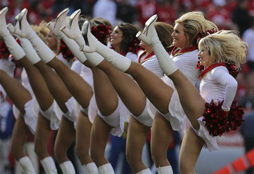 Kansas City Chiefs Cheerleaders perform during an NFL football game against the Carolina Panthers Sunday, Dec. 2, 2012 in Kansas City, MO. &#40;AP Photo&#47;Ed Zurga&#41; <span class=meta>(AP Photo&#47; Ed Zurga)</span>