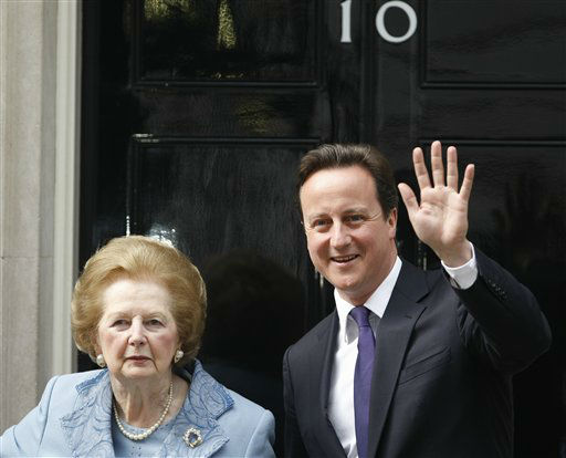 FILE - This is a Tuesday, June, 8, 2010 file photo of  Britian&#39;s Prime Minister David Cameron poses with former Prime Minister Margaret Thatcher on the doorstep of 10 Downing Street  in London.  Ex-spokesman Tim Bell says that Thatcher has died. She was 87. Bell said the woman known to friends and foes as &#34;the Iron Lady&#34; passed away Monday morning, April 8, 2013. &#40;AP Photo&#47;Alastair Grant,File&#41; <span class=meta>(AP Photo&#47; Alastair Grant)</span>