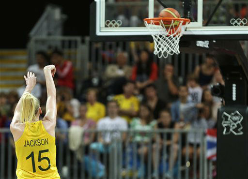 As the ball drops through the rim, Australia&#39;s Lauren Jackson breaks USA&#39;s Lisa Leslie&#39;s record to become the highest scorer in women&#39;s Olympic basketball history during a game against Brazil at the 2012 Summer Olympics, Wednesday, Aug. 1, 2012, in London. &#40;AP Photo&#47;Charles Krupa&#41; <span class=meta>(AP Photo&#47; Charles Krupa)</span>
