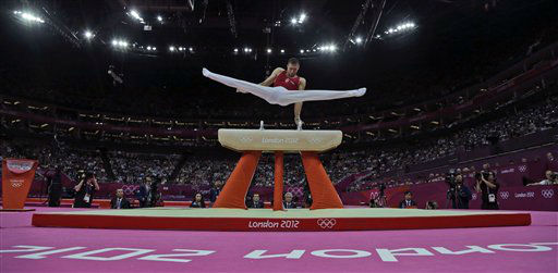 Gymnast Krisztian Berki of Hungary performs during the artistic gymnastics men&#39;s pommel horse final at the 2012 Summer Olympics, Sunday, Aug. 5, 2012, in London. Berki won the gold medal. &#40;AP Photo&#47;Julie Jacobson&#41; <span class=meta>(AP Photo&#47; Julie Jacobson)</span>