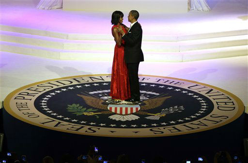 "<div class=""meta ""><span class=""caption-text "">President Barack Obama and first lady Michelle Obama share a dance during the Commander-In-Chief Inaugural ball at the Washington Convention Center during the 57th Presidential Inauguration Monday, Jan. 21, 2013, in Washington.  (AP Photo/ Evan Vucci) (AP Photo/ Evan Vucci)</span></div>"
