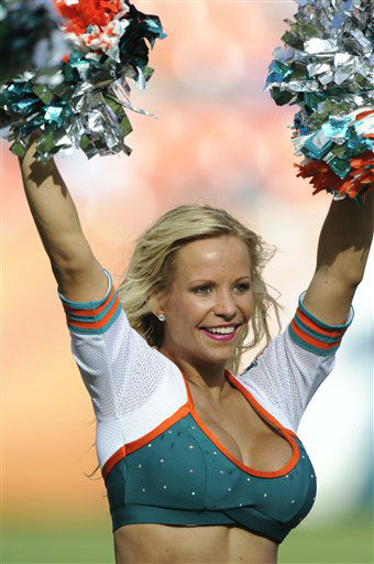 A Miami Dolphins cheerleader performs during the second half of an NFL football game against the New England Patriots, Sunday, Dec. 2, 2012, in Miami . &#40;AP Photo&#47;Rhona Wise&#41; <span class=meta>(AP Photo&#47; Rhona Wise)</span>
