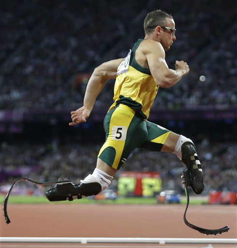 "<div class=""meta ""><span class=""caption-text "">South Africa's Oscar Pistorius runs in one of  the men's 400-meter semifinal races during the athletics competition in the Olympic Stadium at the 2012 Summer Olympics, London, Sunday, Aug. 5, 2012. (AP Photo/Lee Jin-man) (AP Photo/ Lee Jin-man)</span></div>"