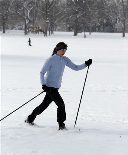 Porter McKinnon cross country skis in Washington Park in Denver on Thursday, Feb. 21, 2013. A fast moving winter storm passed through Colorado Wednesday night and Thursday morning dropping as much as a foot of snow in areas of the state. &#40;AP Photo&#47;Ed Andrieski&#41; <span class=meta>(AP Photo&#47; Ed Andrieski)</span>