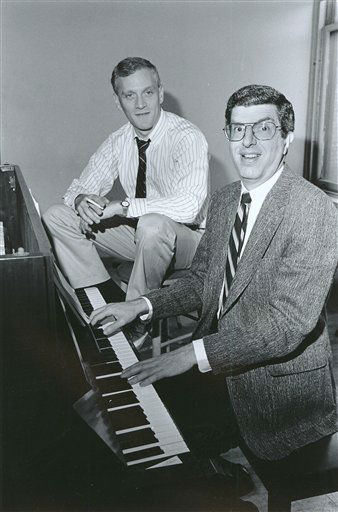 FILE - This Sept. 9, 1986 file photo shows composer Marvin Hamlisch, right, at the piano with lyricist Howard Ashman in New York. Hamlisch, a conductor and award-winning composer best known for the torch song &#34;The Way We Were,&#34; died Monday, Aug. 6, 2012 in Los Angeles. He was 68.  &#40;AP Photo&#47;Nancy Kaye, file&#41; <span class=meta>(AP Photo&#47; NANCY KAYE)</span>