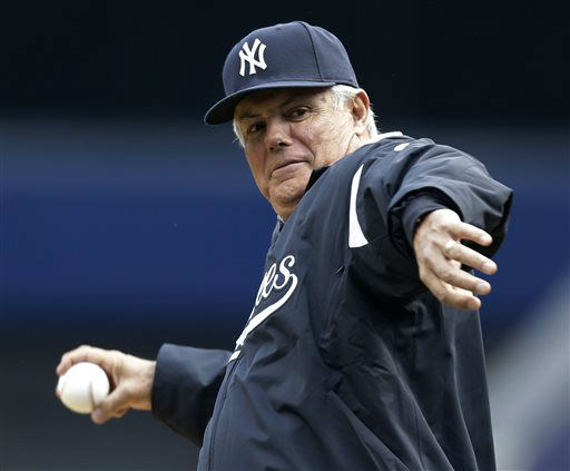 Lou Piniella throws out the ceremonial first pitch at an Opening Day baseball game between the Red Sox and the Yankees at Yankee Stadium in New York, Monday, April 1, 2013.  &#40;AP Photo&#47;Kathy Willens&#41; <span class=meta>(AP Photo&#47; Kathy Willens)</span>