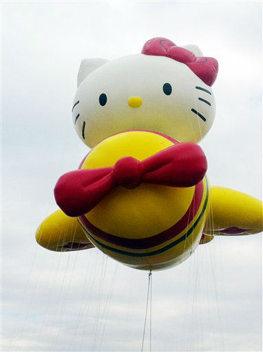 In this photo provided by Macy?s, the ?Hello Kitty? balloon floats over the Meadowland?s race track during a test flight Saturday, Nov. 10, 2012, in East Rutherford, N.J. ?Hello Kitty? is one of three new balloons to be featured in the 2012 Macy?s Thanksgiving Parade. &#40;AP Photo&#47;Macy?s, Inc.&#41; <span class=meta>(AP Photo&#47; Uncredited)</span>