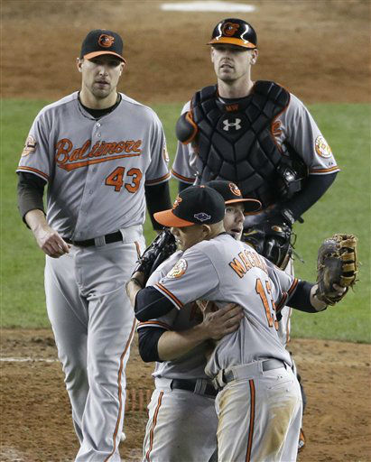 "<div class=""meta ""><span class=""caption-text "">Baltimore Orioles' Mark Reynolds and Manny Machado embrace as teammates Jim Johnson, left, and Matt Wieters approach after the Orioles defeated the New York Yankees 2-1 in Game 4 of the American League division baseball series Thursday, Oct. 11, 2012, in New York. (AP Photo/Peter Morgan) (AP Photo/ Peter Morgan)</span></div>"