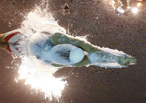 Denmark&#39;s Lotte Friis starts in a women&#39;s 800-meter freestyle swimming heat at the Aquatics Centre in the Olympic Park during the 2012 Summer Olympics in London, Thursday, Aug. 2, 2012. &#40;AP Photo&#47;David J. Phillip&#41; <span class=meta>(AP Photo&#47; David J. Phillip)</span>