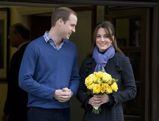 Britain&#39;s Prince William stand next to his wife Kate, Duchess of Cambridge as she leaves the King Edward VII hospital in central London, Thursday, Dec. 6, 2012. Prince William and his wife Kate are expecting their first child, and the Duchess of Cambridge was admitted to hospital suffering from a severe form of morning sickness in the early stages of her pregnancy.  &#40;AP Photo&#47;Alastair Grant&#41; <span class=meta>(AP Photo&#47; Alastair Grant)</span>