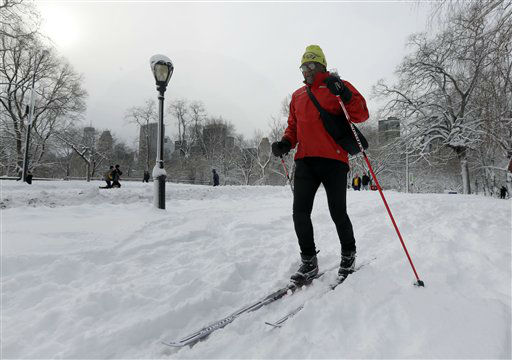 Fred Graham cross country skis in New York&#39;s Central Park,  Saturday, Feb. 9, 2013. In New York City, the snow total in Central Park was 11.4 inches by 8 a.m.  &#40;AP Photo&#47;Richard Drew&#41; <span class=meta>(AP Photo&#47; Richard Drew)</span>