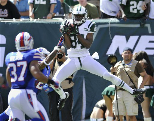 New York Jets wide receiver Stephen Hill &#40;84&#41; catches a pass for a touchdown during the first half of an NFL football game against the Buffalo Bills at MetLife Stadium, Sunday, Sept. 9, 2012, in East Rutherford, N.J. &#40;AP Photo&#47;Bill Kostroun&#41; <span class=meta>(AP Photo&#47; Bill Kostroun)</span>