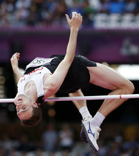 Canada&#39;s Michael Mason competes in a men&#39;s high jump qualification during the athletics in the Olympic Stadium at the 2012 Summer Olympics, London, Sunday, Aug. 5, 2012. &#40;AP Photo&#47;Matt Dunham&#41; <span class=meta>(AP Photo&#47; Matt Dunham)</span>