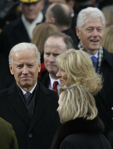Vice President Joe Biden arrives at the ceremonial swearing-in of President Barack Obama at the U.S. Capitol during the 57th Presidential Inauguration in Washington, Monday, Jan. 21, 2013. Right is former President Bill Clinton. &#40;AP Photo&#47;Pablo Martinez Monsivais&#41; <span class=meta>(AP Photo&#47; Pablo Martinez Monsivais)</span>