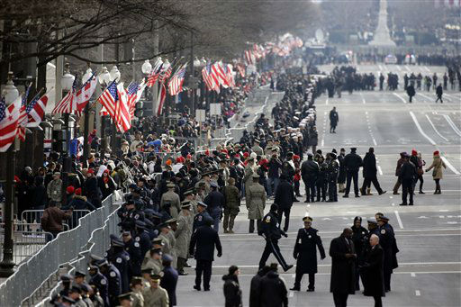 "<div class=""meta image-caption""><div class=""origin-logo origin-image ""><span></span></div><span class=""caption-text"">Security lines Pennsylvania Avenue in Washington, Monday, Jan. 21, 2013, prior to the start of the 57th Presidential Inaugural Parade which will take place following President Barack Obama's ceremonial swearing-in on Capitol Hill. (AP Photo/Alex Brandon) (AP Photo/ Alex Brandon)</span></div>"