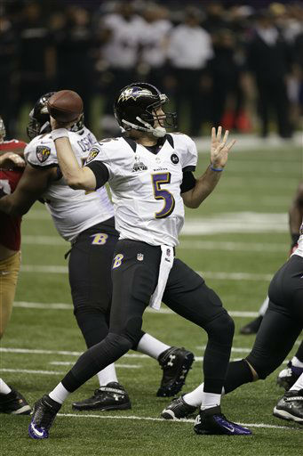 Baltimore Ravens quarterback Joe Flacco &#40;5&#41;  works against the San Francisco 49ers  NFL Super Bowl XLVII football game Sunday, Feb. 3, 2013, in New Orleans. &#40;AP Photo&#47;Bill Haber&#41; <span class=meta>(AP Photo&#47; Bill Haber)</span>