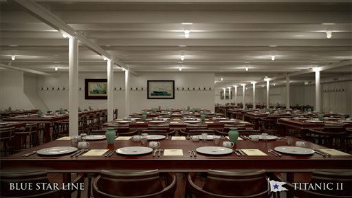 In this rendering provided by Blue Star Line, the third class dining room on the Titanic II is shown. The ship, which Australian billionaire Clive Palmer is planning to build in China, is scheduled to sail in 2016. Palmer said his ambitious plans to launch a copy of the Titanic and sail her across the Atlantic would be a tribute to those who built and backed the original. &#40;AP Photo&#47;Blue Star Line&#41; <span class=meta>(AP Photo&#47; Uncredited)</span>