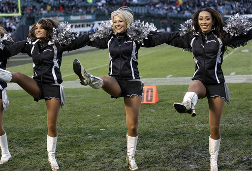 "<div class=""meta ""><span class=""caption-text "">Oakland Raiders cheerleaders perform during the second half of an NFL football game between the Oakland Raiders and the Cleveland Browns in Oakland, Calif., Sunday, Dec. 2, 2012. (AP Photo/Marcio Jose Sanchez) (AP Photo/ Marcio Jose Sanchez)</span></div>"