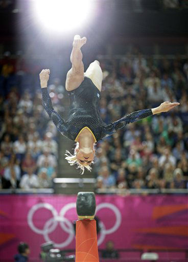 Swedish gymnast Jonna Adlerteg performs on the balance beam during the Artistic Gymnastics women&#39;s qualification at the 2012 Summer Olympics, Sunday, July 29, 2012, in London. &#40;AP Photo&#47;Gregory Bull&#41; <span class=meta>(AP Photo&#47; Gregory Bull)</span>