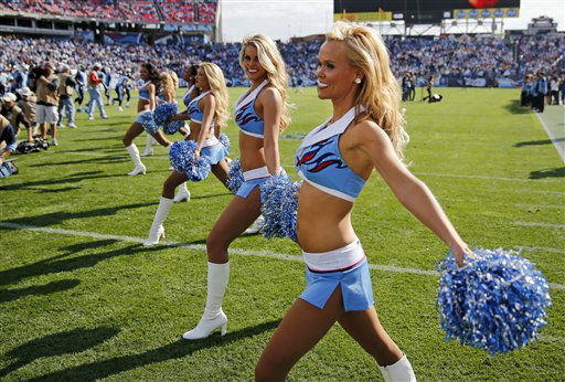 Tennessee Titans cheerleaders perform before an NFL football game between the Titans and the Houston Texans on Sunday, Dec. 2, 2012, in Nashville, Tenn. &#40;AP Photo&#47;Joe Howell&#41; <span class=meta>(AP Photo&#47; Joe Howell)</span>