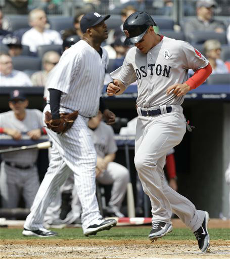 Boston Red Sox runner Jacoby Ellsbury, right, scores in front of New York Yankees starting pitcher CC Sabathia, left, on Dustin Pedroia&#39;s second-innning, RBI single in an Opening Day baseball game at Yankee Stadium in New York, Monday, April 1, 2013.  &#40;AP Photo&#47;Kathy Willens&#41; <span class=meta>(AP Photo&#47; Kathy Willens)</span>